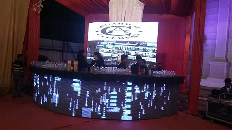 led video wall wine bar setup  wedding  corporate p