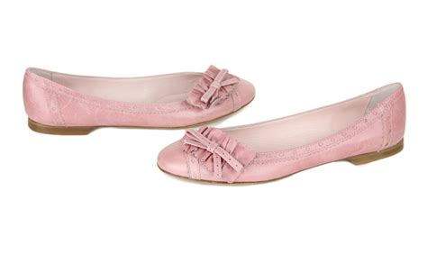 valentino womens light pink leather bow ballet flats