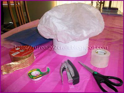 How To Make A Chef Hat With Tissue Paper - diy tissue paper check baker hat duffer doo