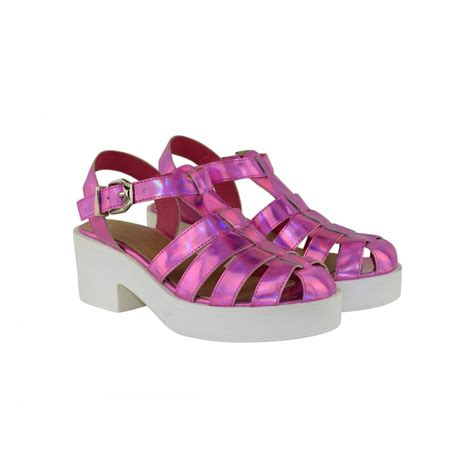 pink hologram strappy side buckle platform heel
