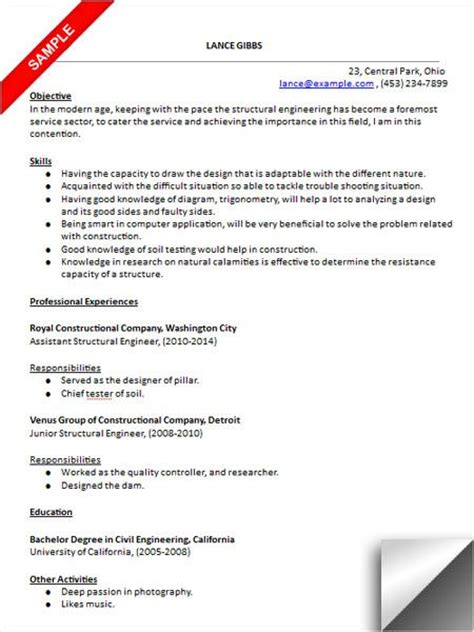 Structural Engineering Resume Template by Resume And Engineers On