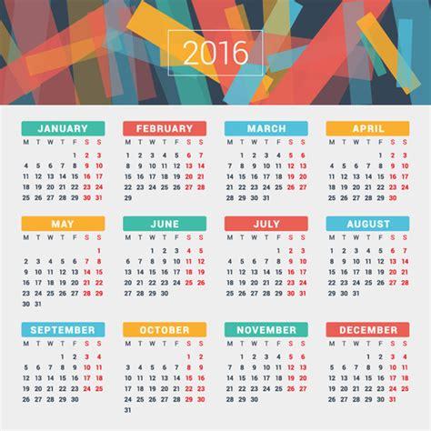 new year 2016 2 weeks تصميم التقويم لون 2016 متفرقات المتجهات ناقل حر تحميل مجاني