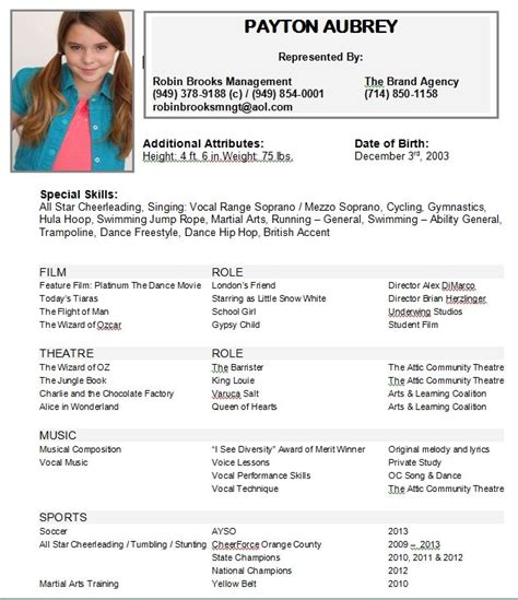 resume actors resume samples beginner acting sample free templates