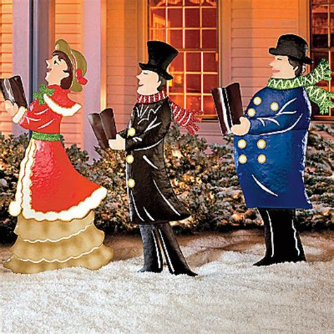 set of 3 metal christmas carolers outdoor yard display