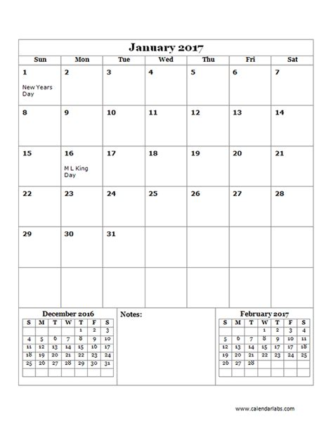 2017 monthly calendar template 14 free printable templates