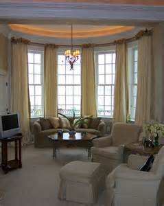 Window Treatments Bow Windows Ballgown Drapery On Bow Window Contemporary Living