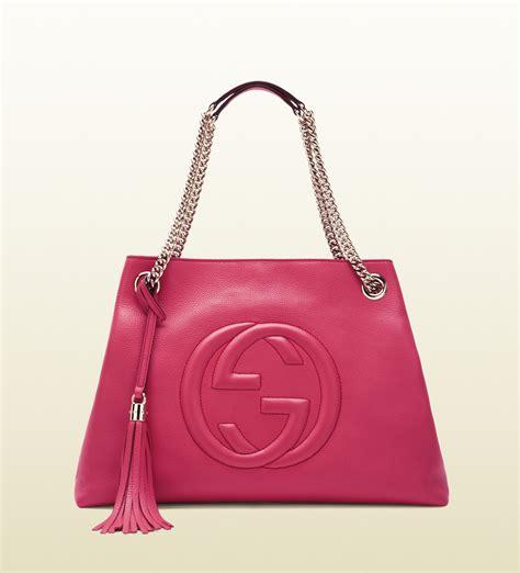 Garucci Bag Pink 2 gucci soho shocking pink leather shoulder bag in pink lyst