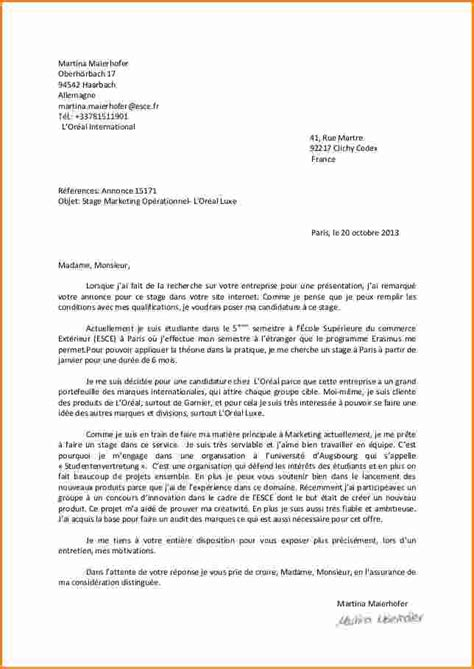 Exemple Lettre De Motivation Candidature Ecole De Commerce 11 Exemple Lettre De Motivation Pour 233 Cole Exemple Lettres