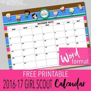 fashionable moms free printable new girl scout calendar