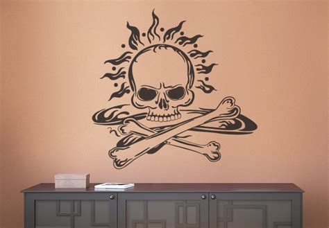 skull and bones wall decal pirate style vinyl decor