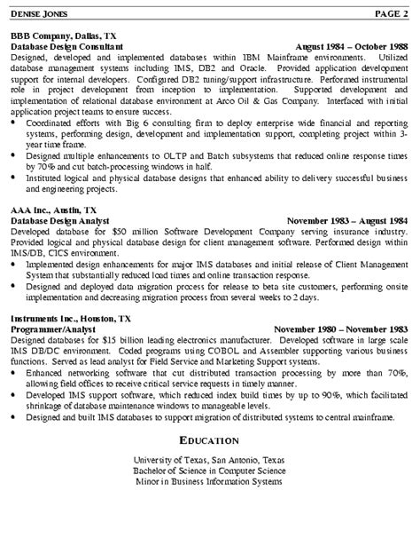 Dba Resume by Database Administrator Resume Exle