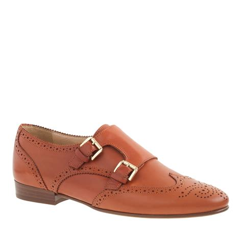 womens monk loafers j crew perforated monk loafers in brown warm cognac
