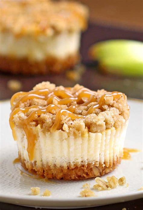 caramel apple crisp mini cheesecakes cakescottage
