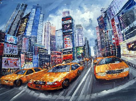 chalk paint new york city new york taxi painting high textured painting