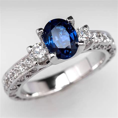 oval cut sapphire engagement ring w diamonds 18k white gold