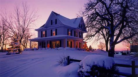 winter houses winter sunset house walldevil