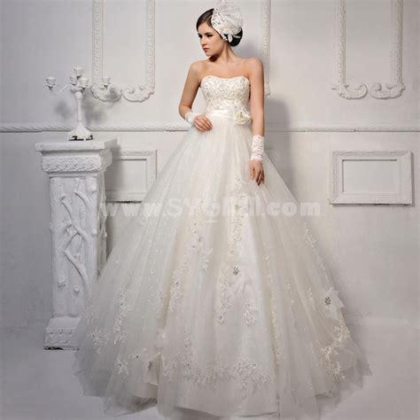 Korean Satin Flo mtf korea shiny lace strapless empire wedding dress s1250
