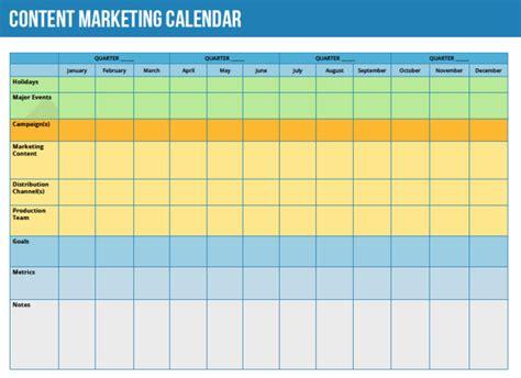 Creating A Content Marketing Calendar Clickdimensions Blog 12 Month Marketing Calendar Template