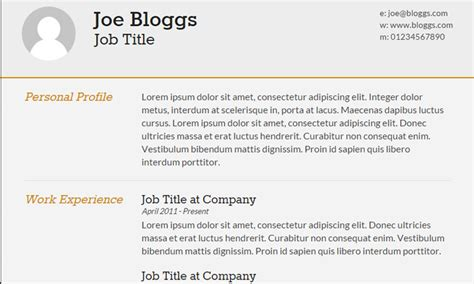 20 best free html resume templates to trendytheme