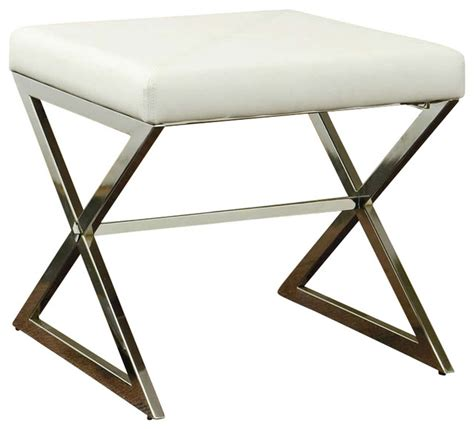 footstool metal legs coaster ottoman with metal base faux leather white