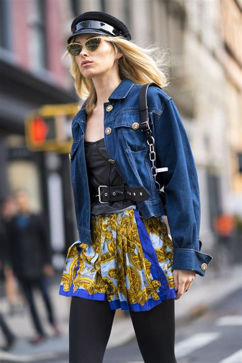 Ny Fashion Week by Elsa Hosk Seen Wearing Vintage Versace While Out During