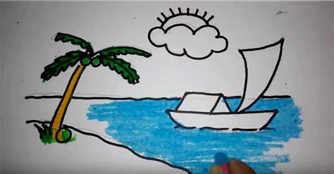 tutorial menggambar pemandangan menggambar pemandangan pantai untuk pemula menggambar unik