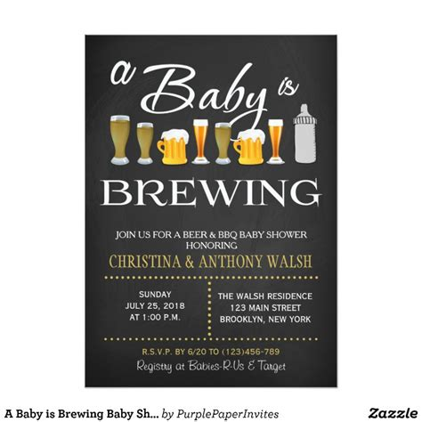 a baby is brewing baby shower chalk bbq invitation zazzle