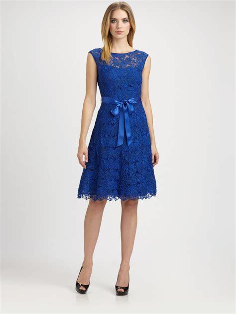 blue pattern lace dress lyst teri jon lace dress in blue