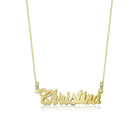 10k solid yellow gold personalized custom name necklace