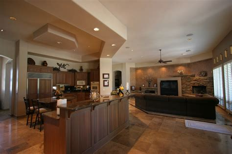open floor plan kitchen and living room knipp luxury 187 custom homes