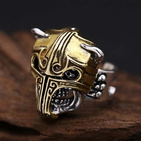 Handmade Skull Rings - 925 skull ring handmade sterling silver skull ring with helmet