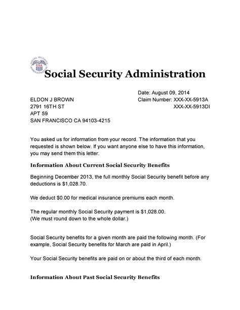 Social Security Benefit Letter Levelings Social Security Award Letter Template