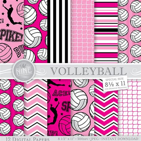 printable volleyball paper volleyball digital paper volleyball party printables 8 1 2