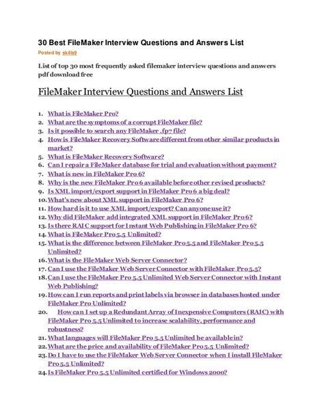 N Question List 30 Best File Maker Questions And Answers List