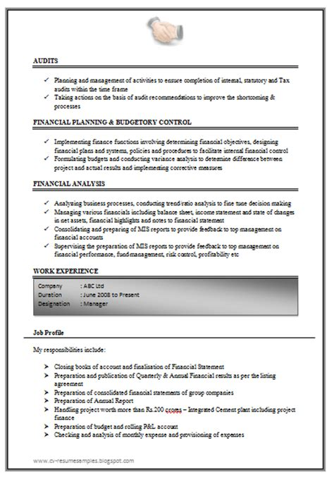 resume format for experienced accountant 10000 cv and resume sles with free excellent work experience chartered