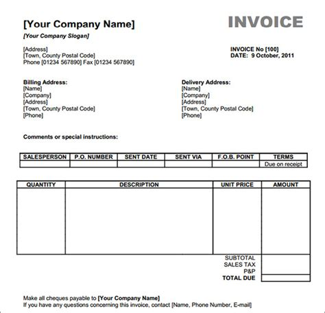 Free Invoice Templates For Excel by Blank Invoice Template 50 Documents In Word Excel Pdf