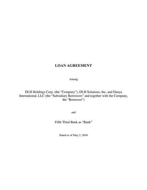 Fifth Third Bank Letter Of Credit Loan Agreement Among Dlh Holdings Corp The Quot Company