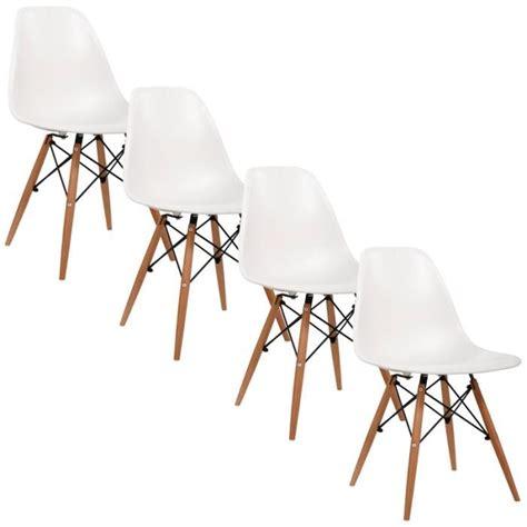 chaises design blanches chaise design blanche pieds en bois retro lot de 4 achat