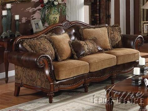 Traditional Furniture Acme Furniture Traditional Chenille Bycast Pu Leather