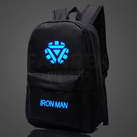 Gw175d Ironman Glow In The iron the glow in the logo school bag