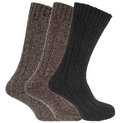boot socks mens mens chunky boot socks with wool pack of 3 ebay