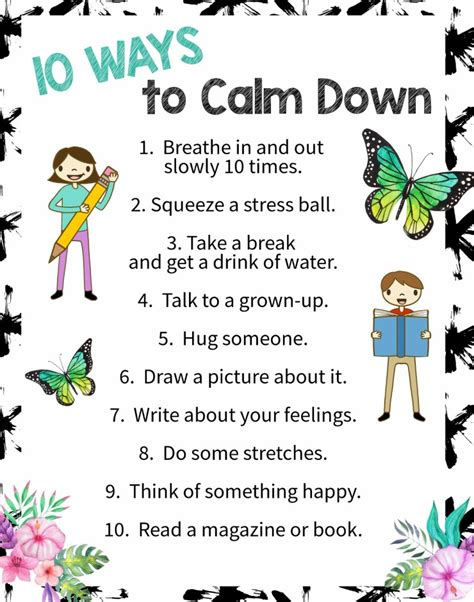 adhd a guide to cultivating calm reducing stress and helping children thrive books 10 ways to calm a free printable poster