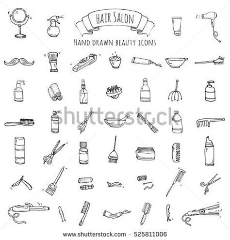 hair dryer doodle doodle hair salon icons stock vector 525811006
