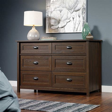 sauder country line 6 drawer rum walnut dresser 416008