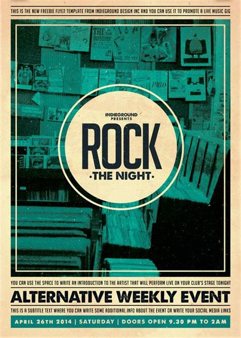 free flyer indie rock party template http www