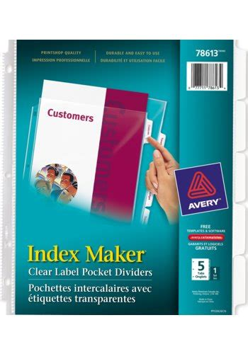 Avery Index Maker Template by Avery 174 78613 Index Maker 174 Clear Label View Dividers 8 1