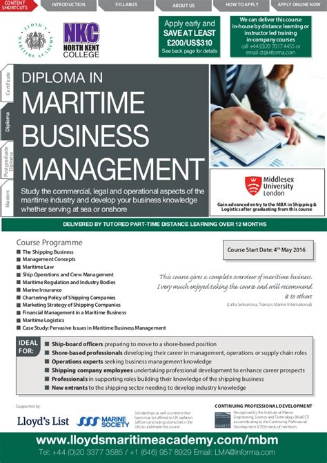 Lloyd S Maritime Academy Mba In Shipping And Logistics by Diploma In Maritime Business Management By Lloyds Maritime