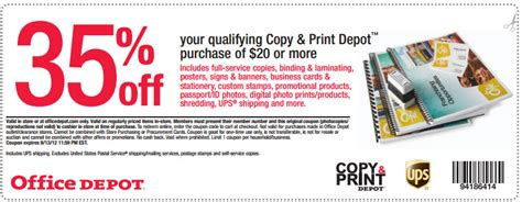 office depot printable coupons copy and print office depot 35 off copy print printable coupon