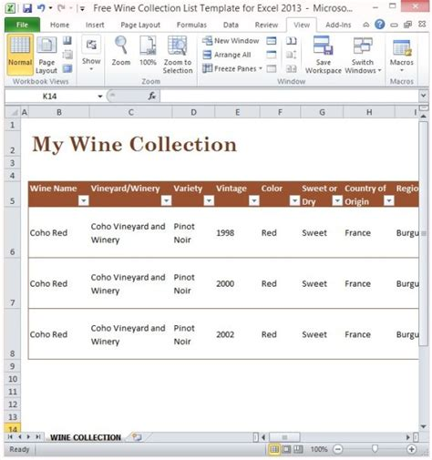 wine inventory template free wine collection list template for excel 2013