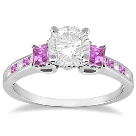 princess cut pink sapphire engagement ring